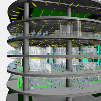 BIM showing all services including electrical and security