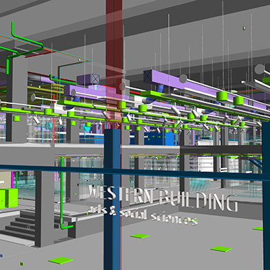 Western Building BIM showing all services
