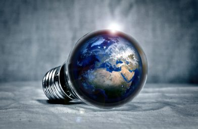 Lightbulb with Earth inside
